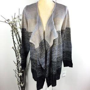 Ombré Black Gray Open Cardigan Sweater